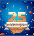 twenty five years anniversary celebration design vector image vector image