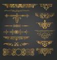vintage decorative design element set gold vector image vector image