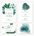 wedding stationary cards kit with monstera leaves vector image