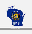 wisconsin usa map flag vector image vector image