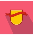 Yellow shield with red ribbon icon flat style vector image vector image
