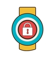 yellow square watch with workout and media icon on vector image vector image