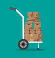 pile cardboard boxes on a hand truck vector image