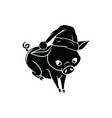 a pig wearing santas hat black with white outline vector image vector image