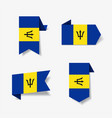barbados flag stickers and labels vector image vector image