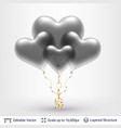 bunch of 3d heart shaped air balloons vector image