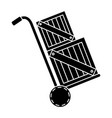 cart with boxes wooden delivery service vector image vector image