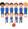 cartoon basketball kids team in uniform vector image