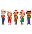 Cartoon children with Christmas gifts vector image vector image