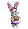 cartoon easter bunny with a basket full of eggs vector image vector image