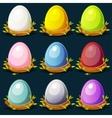 cartoon funny colored birds eggs in nest twigs vector image vector image