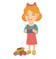 caucasian girl playing with radio-controlled car vector image