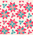 christmas pattern with red flowers vector image