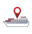 container ship shipping pointer map location vector image vector image