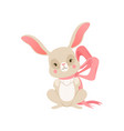 cute cartoon bunny with pink bow funny rabbit vector image vector image