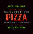 decorative sanserif font and pizza box cover vector image
