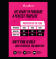 dirty pink retro pricing chart flyer or poster vector image