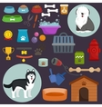 Dog icons flat set with dung kennel leash food vector image vector image