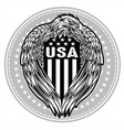 eagle wing annimal black flag usa america vector image