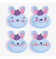 emojis kawaii cartoon faces rabbit emoticons vector image vector image