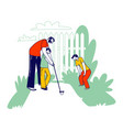 father teaching children playing golf happy vector image