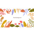 floral frame autumn leaf herbs and flowers vector image