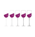 glass of wine set vector image vector image