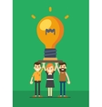 Group of business people holding lightbulb