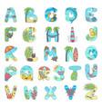 hand drawn abstract alphabet on theme