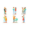 happy traditional families with newborn babies set vector image