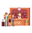 hotel reservation concept with young happy vector image vector image