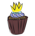 image cupcake with a crown - cupcake with crow vector image vector image