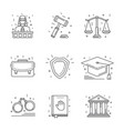 law and justice icon flat and line vector image