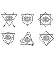 line all seeing tattoo eyes in triangles vector image vector image