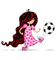 little girl playing soccer vector image vector image
