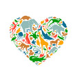 love wild animal concept heart shape icon isolated vector image vector image
