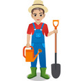 male gardener holding watering can and shovel vector image
