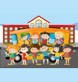 many students riding on schoolbus to school vector image