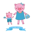 mother pig and piglet vector image vector image