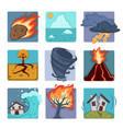 natural disasters flat icons set of volcano vector image