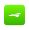 origami airplane icon green vector image