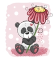Panda with flower vector image vector image