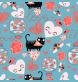 pattern cat lovers hearts vector image vector image
