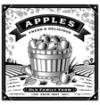retro apple harvest label with landscape vector image vector image