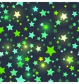 Seamless with shiny green stars vector image vector image
