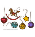set hand drawn colored decorations toy vector image