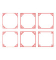 set of square red frames with hearts flourishes vector image vector image