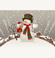 snowman with a red scarf and hat against the vector image vector image