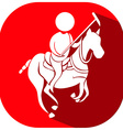 Sport icon design for equestrain on red badge vector image vector image