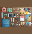 travel accessories prepared for the trip on vector image
